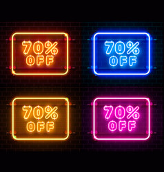 Neon 70 off text banner color set night sign vector