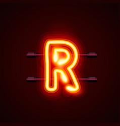 Neon font letter r art design singboard vector