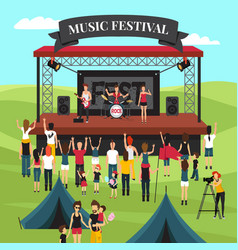 Outdoor music festival composition vector