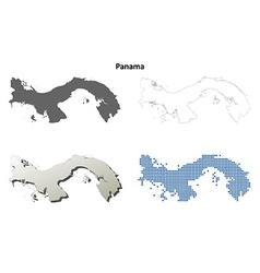 Panama outline map set vector