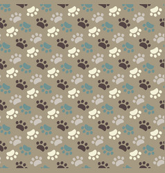 Paw seamless patternanimals foot imprint vector