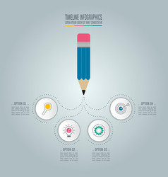 pencil with timeline infographic design vector image