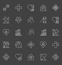 Pet and veterinary line icons vector