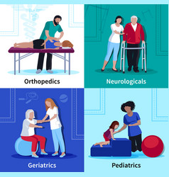 physiotherapy rehabilitation 4 flat icons square vector image