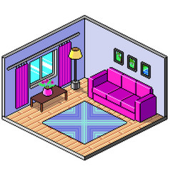 pixel art isometric room detailed vector image