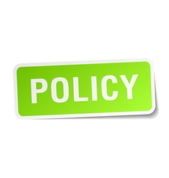 Policy green square sticker on white background vector