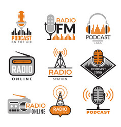 radio logo podcast towers wireless badges radio vector image
