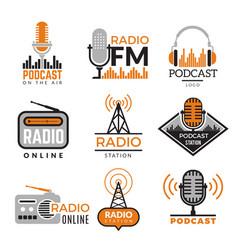 Radio logo podcast towers wireless badges vector