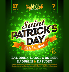 Saint patricks day party celebration poster vector