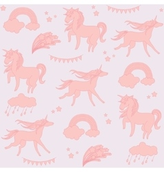 Sandy color unicorns with flags and stars on a vector image