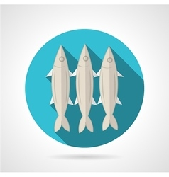 Sardines flat round icon vector