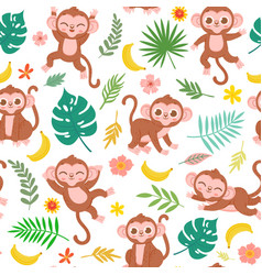seamless pattern with baby monkey banana vector image