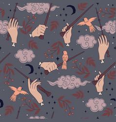 seamless pattern with hands and magic wands vector image