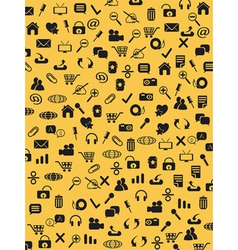 Seamless web icons pattern on yellow background vector image