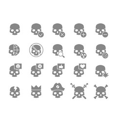 set human skulls grey icon healthy cranium vector image