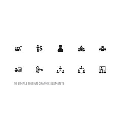 Set of 10 editable cooperation icons includes vector