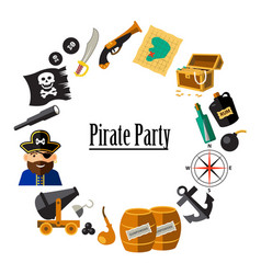Set of pirate and sea elements in the circle vector