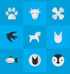 Set of simple zoo icons vector