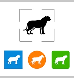 Silhouette big cat icon vector image
