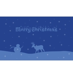 Silhouette of deer and snowman landscape vector