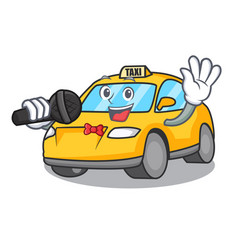 Singing taxi character mascot style vector