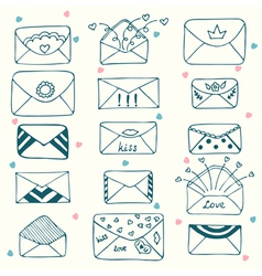 Sketch style mail message or envelope Hand drawn vector image