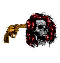 smiling skull with revolver for tattoo design vector image