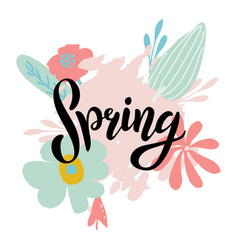spring lettering design logo vector image