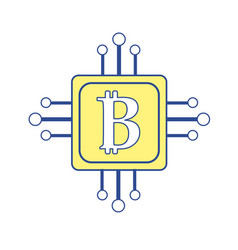square with circuit connection and botcoin symbol vector image