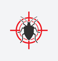 Stink bug icon red target insect pest control vector