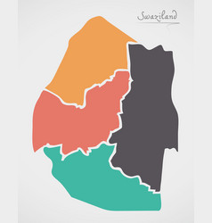 Swaziland map with states vector