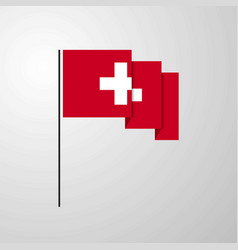 Switzerland waving flag creative background vector