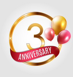 template gold logo 3 years anniversary with ribbon vector image