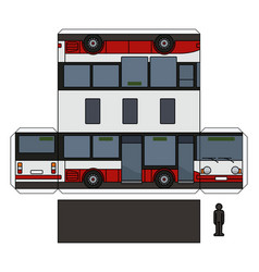 The paper model of a small city bus vector