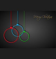 three colorful christmas balls with strings vector image
