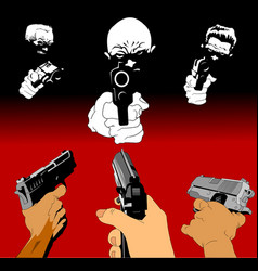 Three pistols vector