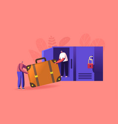 Tiny travelers with huge bag in luggage storage vector