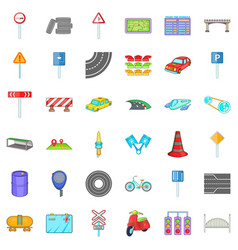 Transport part icons set cartoon style vector
