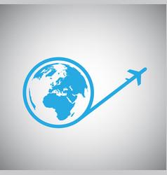 travel around the world plane icon vector image