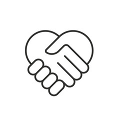 two hands in shape heart modern thin line icon vector image