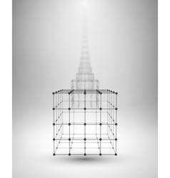 Wireframe Box Cube with connected lines and dots vector image