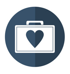 first aid kit emergency heart care shadow vector image