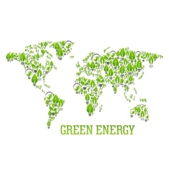 Green world map symbol with light bulbs vector image vector image