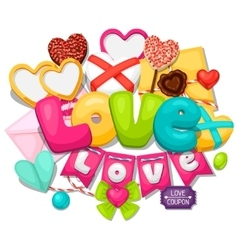 Greeting card with hearts objects decorations vector
