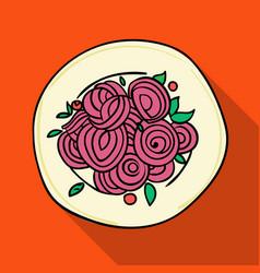 italian spaghetti pasta icon in flat style vector image