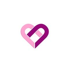 love heart valentine couple logo vector image vector image