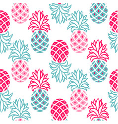 pineapple pink and blue seamless pattern vector image vector image