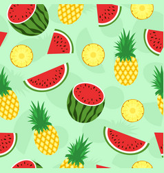 seamless pattern with tropical fruits pineapple vector image vector image