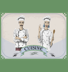 woman and men caucasian cook chef worker chefs vector image