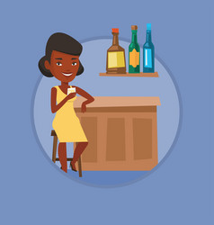 Woman sitting at the bar counter vector
